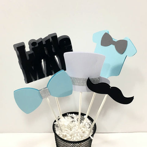 Little Man Centerpiece Sticks - Blue, Black, White, Gray, & Silver