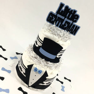 Blue & Black Little Gentleman Diaper Cake