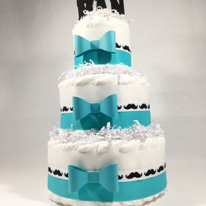 Little Man 3-Tier Diaper Cake Centerpiece - Teal, Black