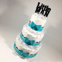 Teal & White Little Man Mustache Diaper Cake