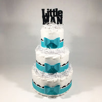 Teal & White Little Man Baby Shower Diaper Cake