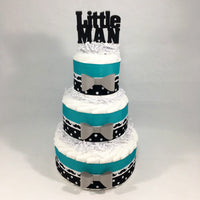Teal & Black Little Man Diaper Cake Centerpiece