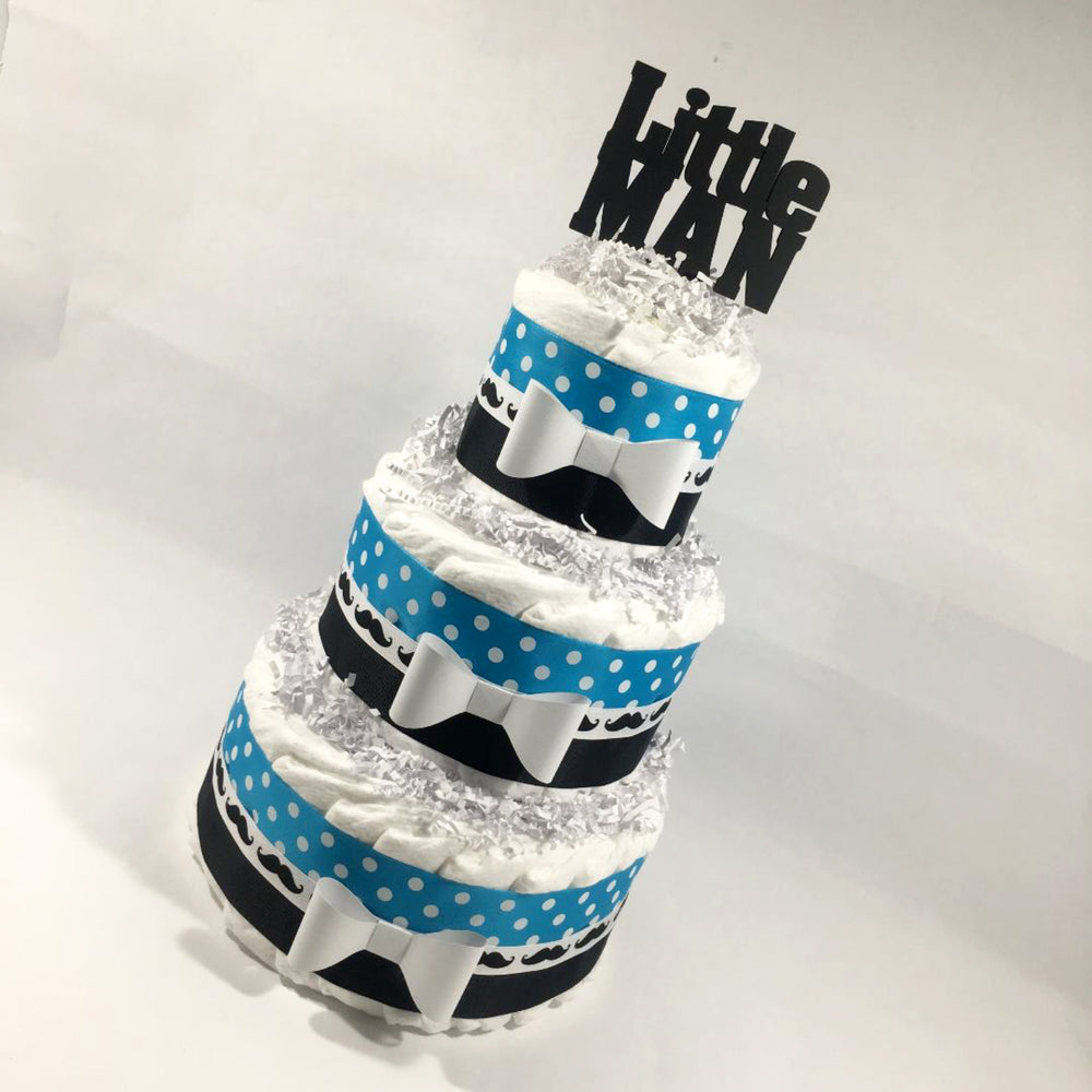 Turquoise and Black Little Man Diaper Cake