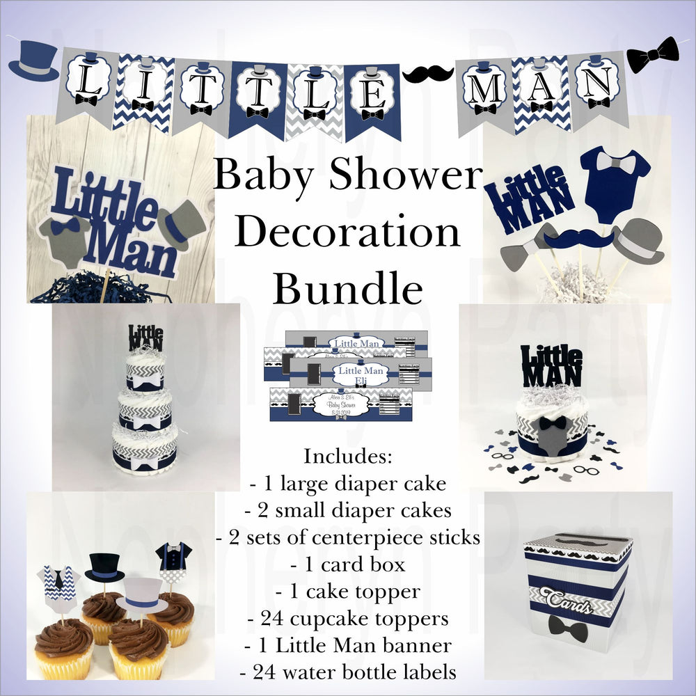 Little Man Baby Shower Decorations Bundle