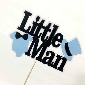 Little Man Cake Topper - Blue, Black