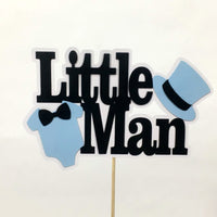 Light Blue & Black Little Man Cake Topper