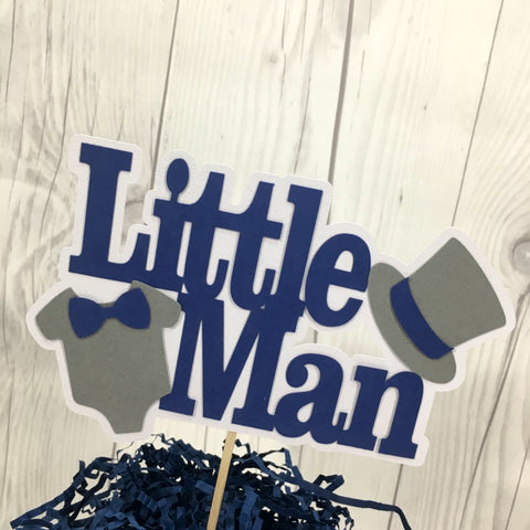 Little Man Cake Topper - Navy, Gray - Ready to Ship