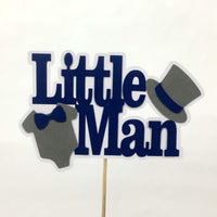 Navy & Gray Little Man Cake Topper