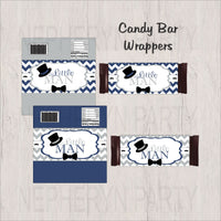 Navy & Gray Little Man Candy Bar Wrappers