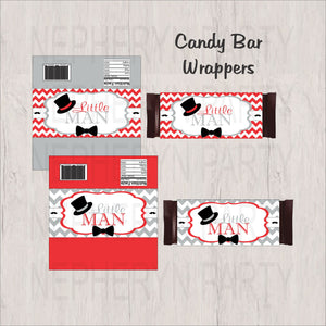 Red, Gray, & Black Little Man Candy Bar Wrappers