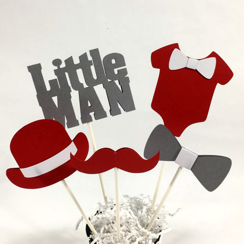 Little Man Centerpiece Sticks - Red, Gray