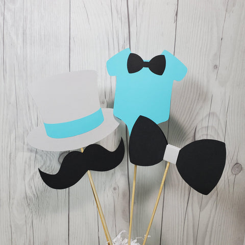 Little Man Party Sticks - Light Teal, Gray, Black
