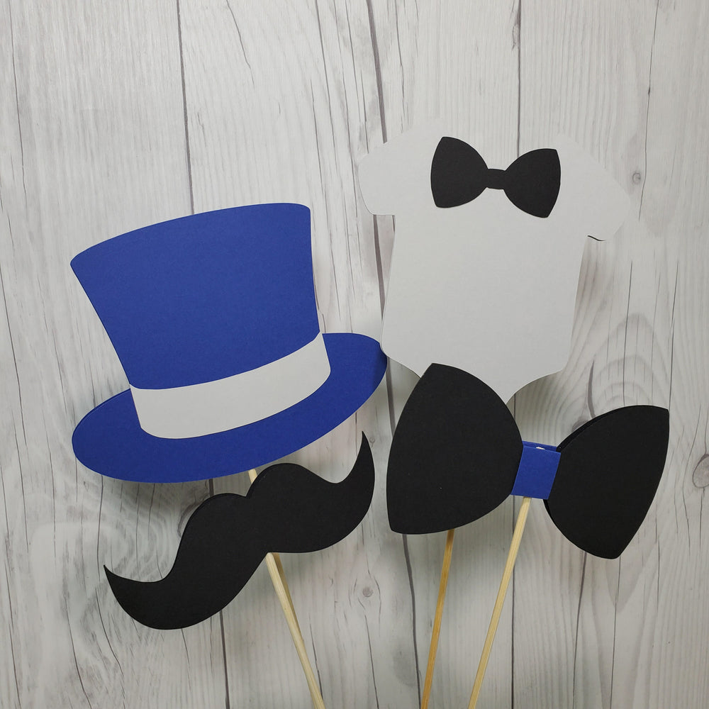 Navy, Gray, & Black Little Man Party Sticks