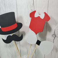 Little Man Party Sticks - Red, Gray, Black