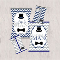 Navy & Gray Little Man Chip Snack Bags