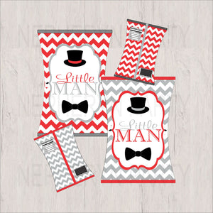 Red, Gray & Black Little Man Chip Snack Bags
