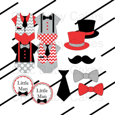 Little Man Clipart - Red, Black, Gray