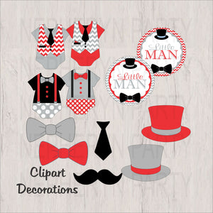 Red, Gray, & Black Little Man Clipart