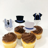 Navy & Gray Little Man Cupcake Toppers