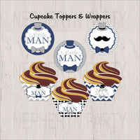 Navy & Gray Little Man Cupcake Toppers & Wrappers