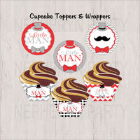 Red, Gray & Black Little Man Cupcake Toppers & Wrappers