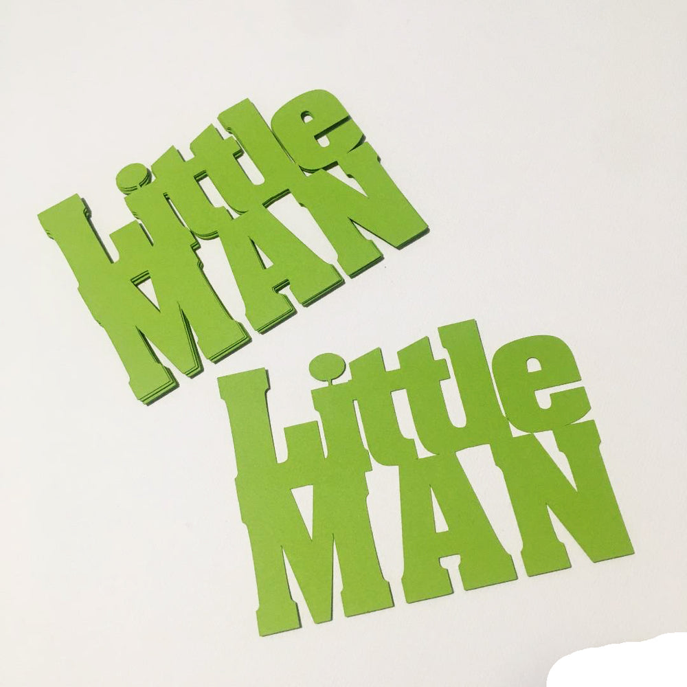 Little Man Word Cutouts - Smooth Lime Green