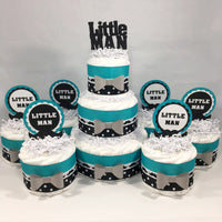 Teal & Black Little Man Diaper Cake Centerpieces