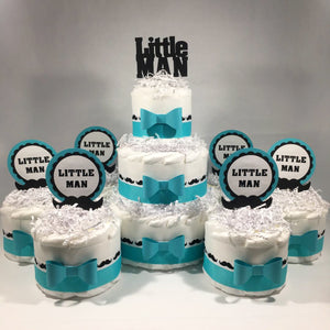 Teal & White Little Man Diaper Cake Centerpieces