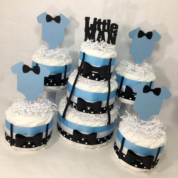 Blue and Black Little Man Baby Shower Diaper Cake Set