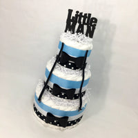 Little Man 3-tier Diaper Cake Centerpiece, Baby Blue & Black