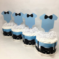 Baby Blue & Black Mini Diaper Cake Centerpieces