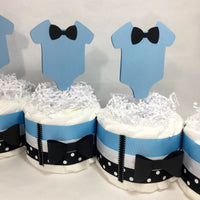 Little Man Diaper Cake Centerpieces - Blue, Black, White