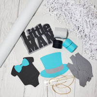 Teal, Black, & Gray Little Man Diaper Cake Kit