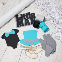 Teal, Gray, & Black Little Man Diaper Cake Kit