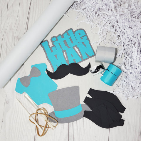 Teal & Gray Little Man Mustache Diaper Cake Kit