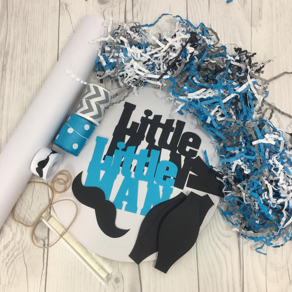 Turquoise and Gray Little Man Diaper Cake Kit
