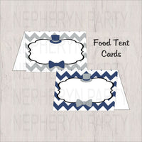 Navy & Gray Little Man Food Tent Cards