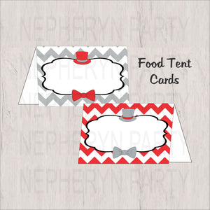 Red, Gray & Black Little Man Food Tent Cards