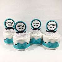 Little Man Mini Diaper Cakes - Teal, Black