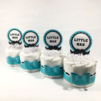 Teal & White Little Man Mini Diaper Cakes