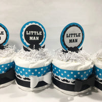 Little Man Mini Diaper Cakes - Turquoise, Black