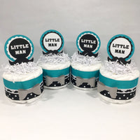 Teal & Black Little Man Mini Diaper Cake Centerpieces