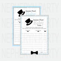 Printable Little Man Baby Shower Games - Blue, Silver