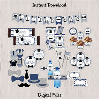 Navy & Gray Little Man Decoration Pack, Instant Download
