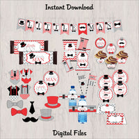 Red, Gray, & Black Little Man Decoration Pack, Instant Download