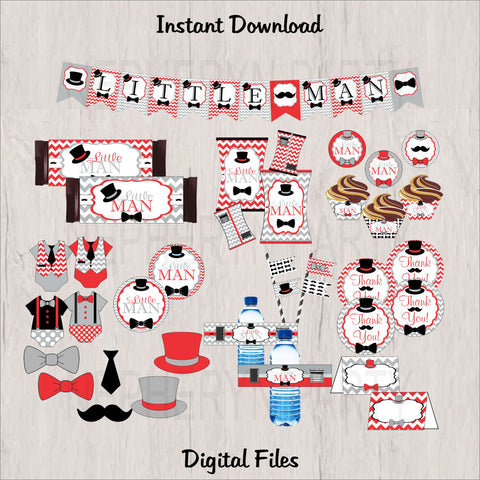 Little Man Printable Party Decorations - Red, Gray, Black