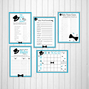 Blue & Gray Little Man Baby Shower Games