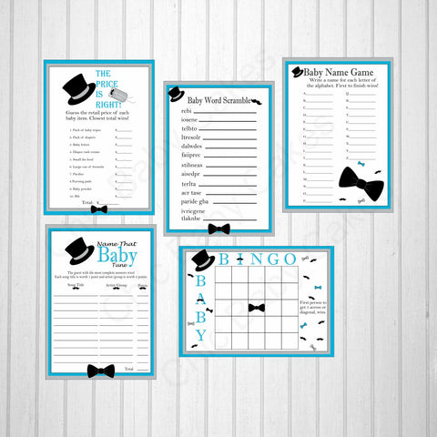 Printable Little Man Baby Shower Game Pack - Blue, Gray