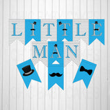 Printable Little Man Baby Shower Decorations - Turquoise, Black