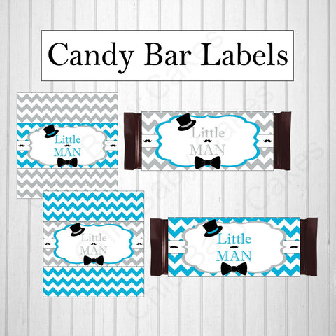 Little Man Candy Bar Labels - Blue,  Gray